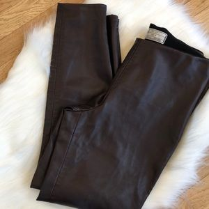 Free people women's faux leather zip brown pants
